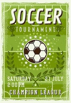 Cartaz de convite para torneio de futebol em ilustração de estilo vintage