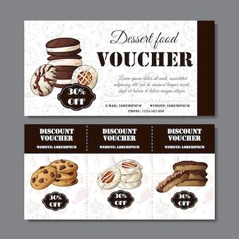 Cartaz de cookies na mão desenhada estilo