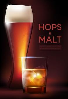 Cartaz de copos para bebidas alcoólicas