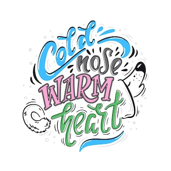 Cartaz de cor de coração quente nariz frio