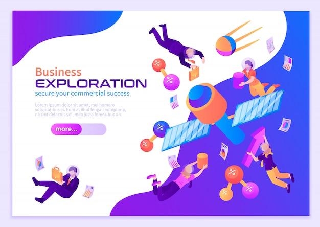 Cartaz de cor de exploração de negócios com pessoas voando no espaço perto de satélites em gravidade zero isométrica