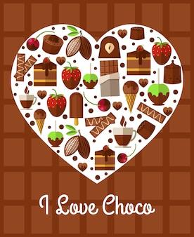 Cartaz de coração de chocolate. eu amo choco