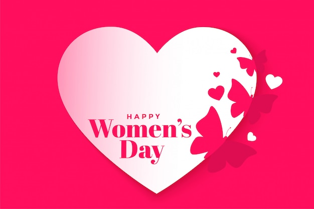 Cartaz de coração e borboleta linda feliz dia das mulheres