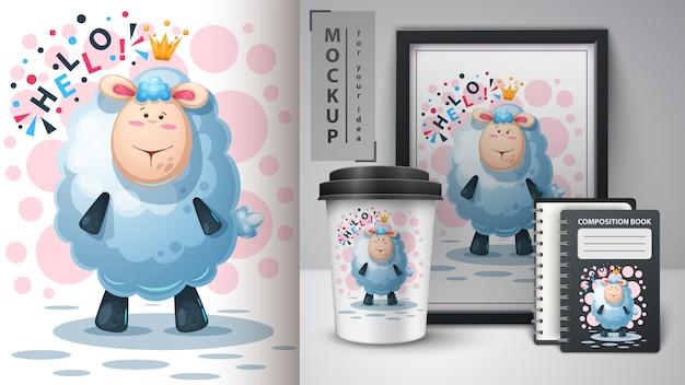 Cartaz de cordeiro princesa e merchandising