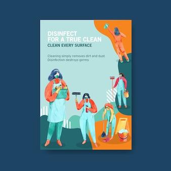 Cartaz de coronavírus com informações sobre a ilustração em aquarela de vírus