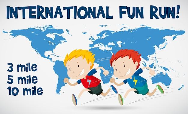 Cartaz de corrida divertida internacional com corredores