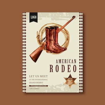 Cartaz de cowboy com franco-atirador, botas, corda