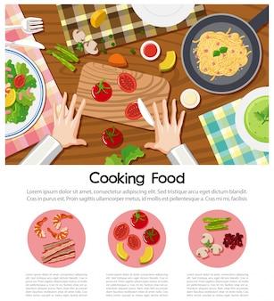 Cartaz de cozinha com diferentes ingredientes na mesa