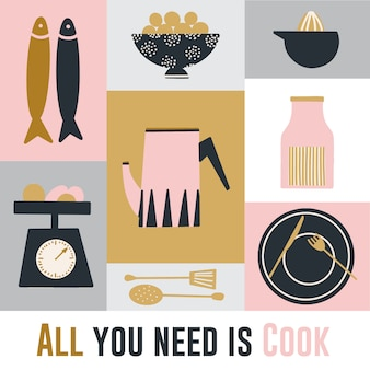 Cartaz de cozinha desenhada mão gira