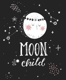 Cartaz de criança de lua com letras de mão desenhada