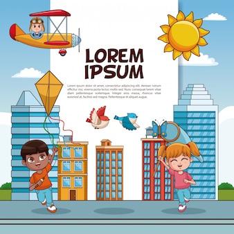 Cartaz de crianças bonito e engraçado com informações
