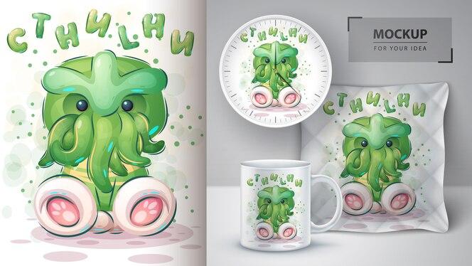 Cartaz de cthulhu dos desenhos animados e merchandising.