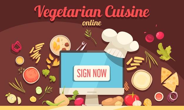 Cartaz de culinária vegetariana com ilustração vetorial plana de símbolos de cozinha on-line