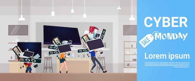 Cartaz de cyber segunda-feira com a família carrega a pilha de dispositivos de tecnologia moderna sobre fundo de loja