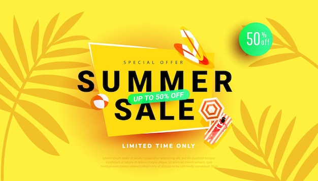 Cartaz de desconto na temporada quente de verão com fundo de folhas tropicais para oferta sazonal