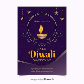 Cartaz de desconto ornamental diwali