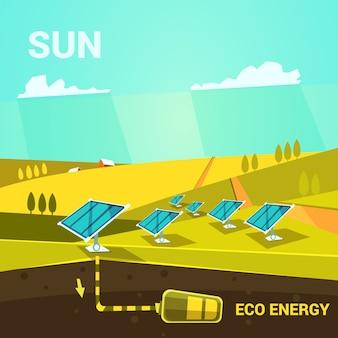 Cartaz de desenho animado de energia ecológica com painéis de energia solar em um estilo retrô de campo