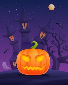 Cartaz de desenho animado de halloween com abóbora no castelo à noite
