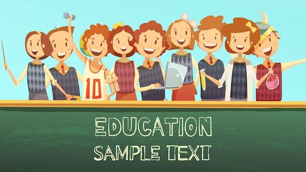 Cartaz de desenho animado de modelo de título de calendário para o ensino primário