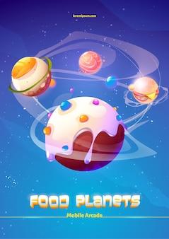 Cartaz de desenho animado do jogo de aventura de planetas de comida arcade móvel