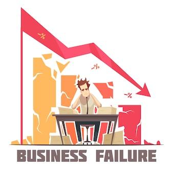 Cartaz de desenho animado retrô de fracasso de negócios com empresário frustrado, sentado no escritório sob ilustração em vetor seta diagrama decrescente