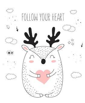 Cartaz de desenho vetorial de linha com animal fofo e ilustração do doodle do coração