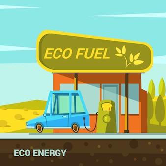 Cartaz de desenhos animados de energia ecológica com estilo retrô de estação de combustível eco