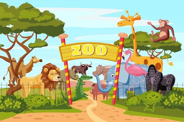 Cartaz de desenhos animados de portões de entrada de jardim zoológico com animais de elefante leão girafa safari e visitantes em território