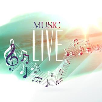 Cartaz de design de música ao vivo com notas de onda