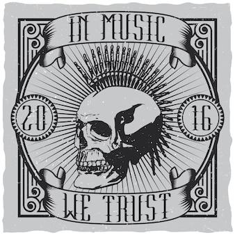 Cartaz de design musical criativo com citação musical em que confiamos no design da etiqueta para camisetas