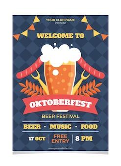 Cartaz de design plano de modelo de oktoberfest