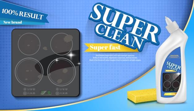 Cartaz de detergente para fogão, cozinha. anúncio mais limpo, mock up de gel líquido