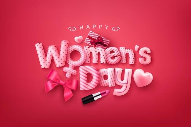 Cartaz de dia da mulher feliz ou banner com fonte bonita, corações doces e caixa de presente em fundo vermelho.