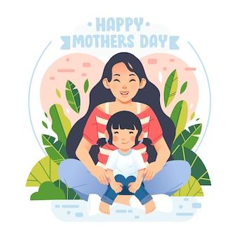 Cartaz de dia das mães feliz e banner com mãe e filha sentada em sua ilustração de colo. usado para pôster, banner e outros