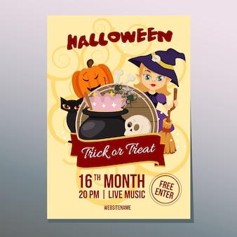 Cartaz de dia de festival de semana de halloween com desenhos animados de assistente