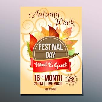 Cartaz de dia de festival de semana de outono se encontra e cumprimenta
