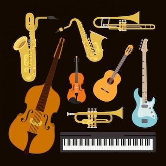 Cartaz de dia de jazz com instrumentos de conjunto
