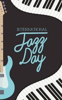 Cartaz de dia de jazz com teclado de piano e guitarra elétrica