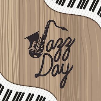 Cartaz de dia de jazz com teclado de piano e saxofone