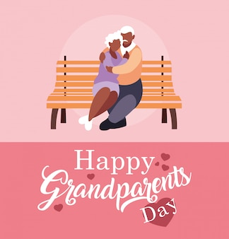Cartaz de dia dos avós feliz com casal de velhos na cadeira do parque
