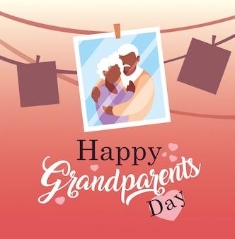 Cartaz de dia dos avós feliz com foto casal velho pendurado