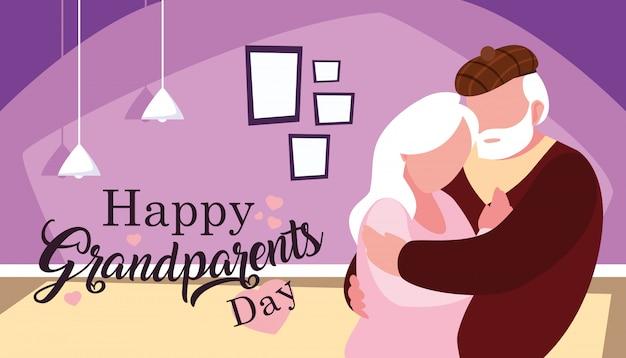 Cartaz de dia dos avós feliz com o casal abraçado