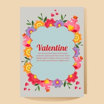 Cartaz de dia dos namorados com poção de amor dos desenhos animados