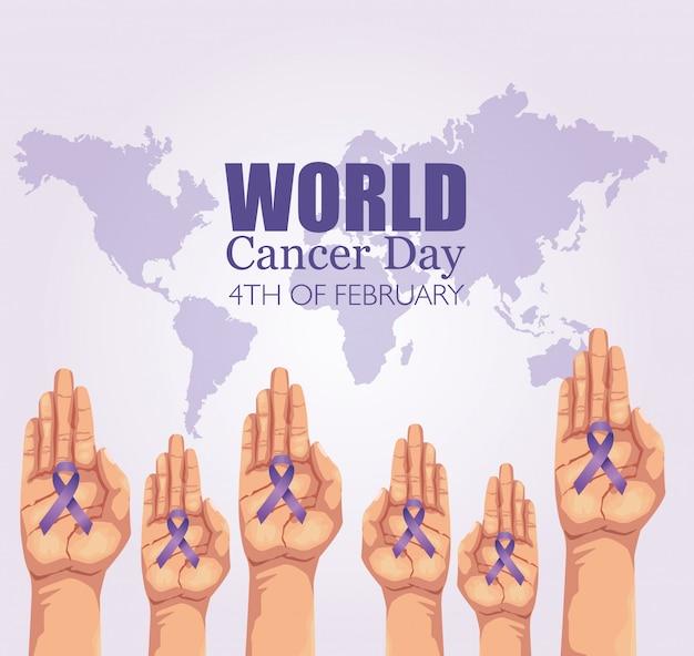 Cartaz de dia mundial do câncer com as mãos e fita