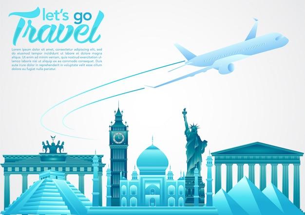 Cartaz de dia mundial do turismo com elementos de monumentos famosos do mundo e destinos turísticos