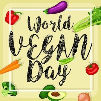 Cartaz de dia mundial vegan com fundo de legumes design plano