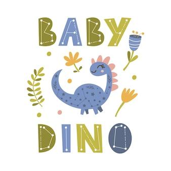 Cartaz de dinossauro fofo com letras dizendo. ilustração vetorial.