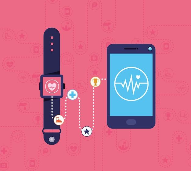 Cartaz de dispositivos de saúde com aplicativos