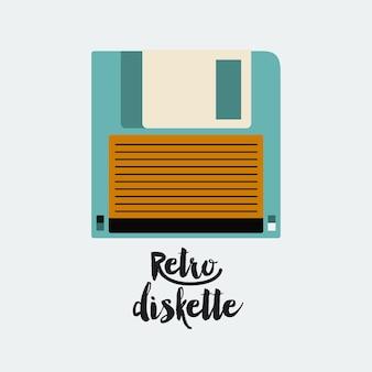 Cartaz de disquete retrô isolado ícone do design