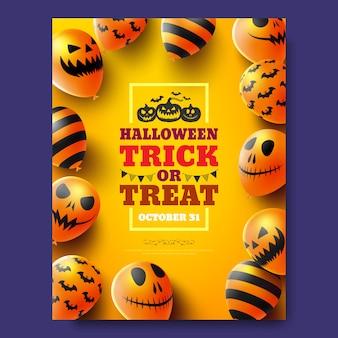 Cartaz de doces ou travessuras de halloween ou panfleto com balões de ar assustador. convite para festa